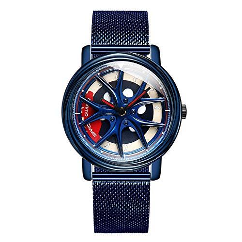 SANDA Reloj Hombre,Reloj Creativo de la Correa de Malla de los Deportes del Estudiante Creativo del Reloj de los Hombres de la Personalidad de Moda-Azul