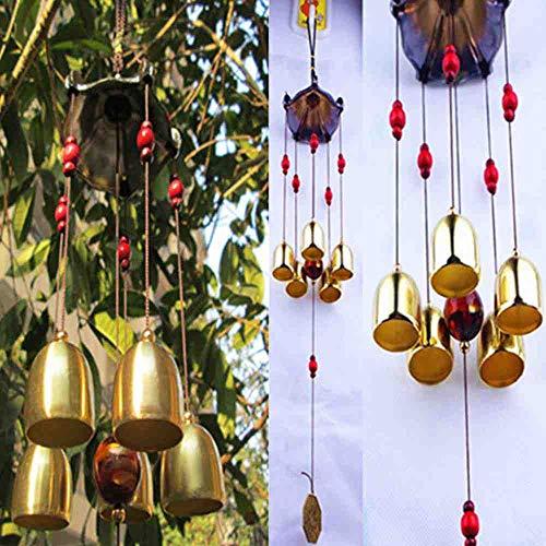 Waxy. Koper 5 Klokken Wind Chimes Pentagon Paviljoen Feng Shui Decoraties Windchimes voor Outdoor Thuis Tuin Yard Mascot Geschenken