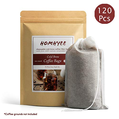 No Mess Cold Brew Coffee Filters - 120 Count Disposable Fine Mesh Brewing Bags for Concentrate/Iced Coffee Maker, French/Cold Press Kit, Hot Tea in Mason Jar or Pitcher, 4 x 6 Inches