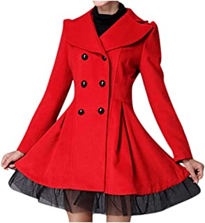 Double Breasted Coat, E-Scenery Women Flare Trench Jacket Long Lapel Outwear Peacoat