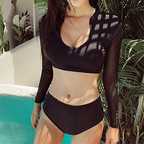 DEMXYA Manga Larga del Bikini Mujeres sólido Empuje del Traje de baño Traje de baño de Malla hasta Biquini Negro Bikinis Estilo Coreano Traje de baño Femenino Guardia Rash bañador Push up Mujer