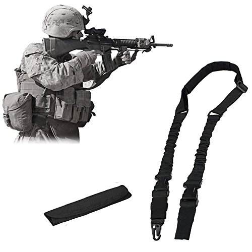 NIANPU Multi Funzione 2 Punto 1 Punto Fucile Pistola Sling per Caccia Sport All aperto (Nero)