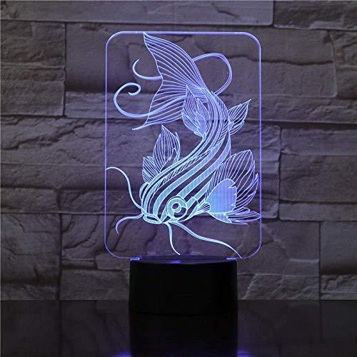 Luz de noche 3D 7 peces que cambian de color Luz LED 3D Pesca de carga