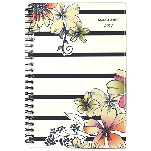 """AT-A-GLANCE Weekly / Monthly Planner / Appointment Book 2017, 4-3/4 x 8"""", Monique, Stripe Floral (178-200)"""