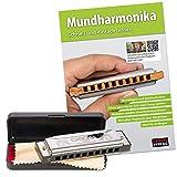 CASCHA Harmonica set débutant avec livre en allemand, apprenez à jouer de l'harmonica blues, y compris étui, tissu et manuel, harmonica en do majeur