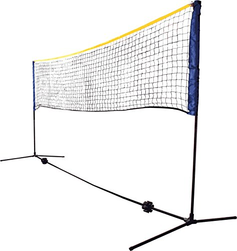 Schildkröt Netzgarnitur Kombi, freistehendes Freizeit-Netz für Badminton, Street-Tennis und andere Sportarten, stufenlos höhenverstellbar von 0,75 m bis 1,55 m, Breite 3 m, 970994