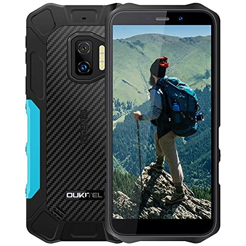 OUKITEL WP12 Pro Téléphone Incassable, Android 11 téléphones de 5,5 Pouces, 4 Go 64 Go Smartphone Antichoc Étanche IP68 et IP69K, 4000mAh Batterie 4G Dual Sim, caméra arrière 13MP, Face ID/NFC(Bleu)