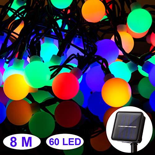 ZWOOS Solar Lichterkette Aussen, 8m 60 LED Sphärische Lampe mit 8 Modi, wasserdichte Stimmungslicht für Balkon Deko, Terrase, Schaufenster, Balkon, Weihnachten