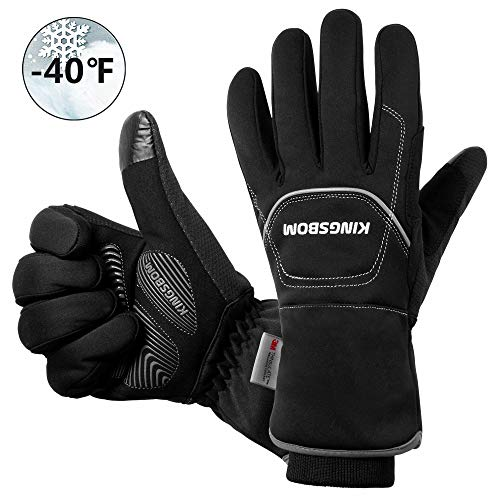 KINGSBOM Waterproof & Windproof Thermal Gloves - 3M Thinsulate Winter Touch Screen Warm Gloves - for Cycling,Riding,Running,Outdoor Sports - for Women and Men - Black (X-Large)