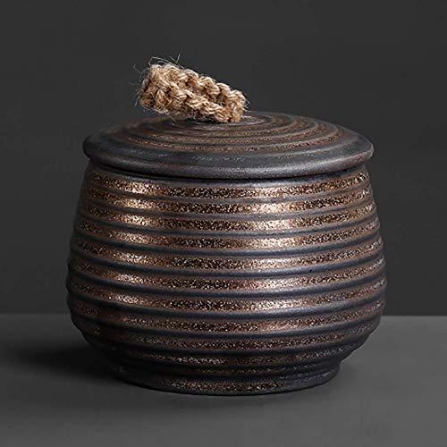 Bote de te de ceramica para te y el cafe Tarro de almacenamiento, ceramica sellada tarros Inicio cocina for guardar Can Granel for condimento en la comida de especias for preparar te cafe (Tamano: S)