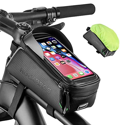 ROCKBROS Bike Bag Phone Holder Bike Pouch Bicycle Front Frame Bag Waterproof Top Tube Bag Bike Accessories Bag Compatible with iPhone Xs Max 11 Pro Plus, Samsung S10