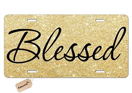 Amcove License Plate Blessed Car Tag Gold Glitter Like - Front License Plate - Christian Religious, License Plate, Vanity Tag, Car License Plate 6 X 12 Inch