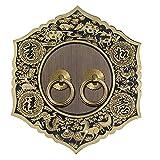 Aldaba Golpeador de la puerta Exquisito Gabinete Chino Manija de la puerta de latón Manija de la Vendimia Decorativo Decorativo Knocker Adecuado para puertas de oficina para el hogar 5.5 pulgadas Alda