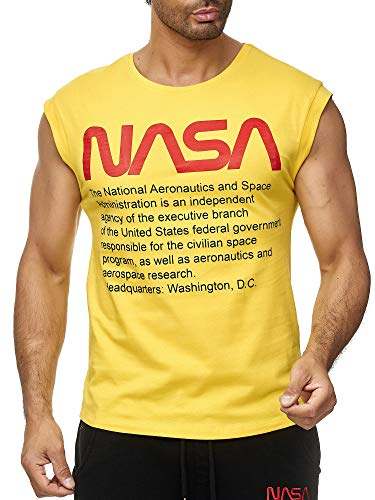 Red Bridge Herren Tank Top T-Shirt NASA Logo USA Ärmellos Baumwolle M1838 Gelb M