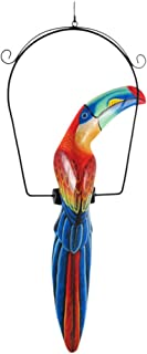 31 Inch Hand Painted Wooden Toucan Bird Hanging Statue Red / Blue
