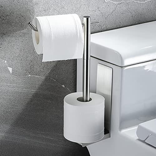 KROCEO Toilettenpapierhalter Ersatzrollenhalter Toilettenpapierbehälter Edelstahl Klopapierhalter Ohne Bohren Glänzend 2 in 1 Toilettenpapier Aufbewahrung Toilettenpapierrollen Selbstklebend Silber