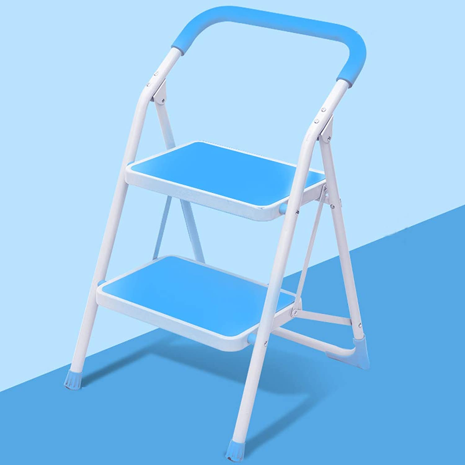 WaWei Step Stool Two-Step Household Folding Small Ladder Ladder Chair Dual-use Ladder Bench Thickening Indoor Multi-Function Herringbone Ladder Step Stool (color   bluee)
