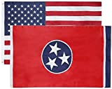 State + USA Flags 3x5 Feet Combo Pack - Embroidered 200D / 210D Nylon Flags with Sewn Panels (Tennessee + USA 3x5)