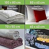 Vakuum Aufbewahrungsbeutel – Set mit 15 Stück (3 jumbo (100x80cm) + 4 große (80×60) + 4 mittlere (70×50) + 4 kleine (60×40)) wiederverwendbare Platzsparwunder mit kostenloser Handpumpe für das Reisegepäck. Bester Versiegelungsbeutel für Kleidung, Bettdecken, Bettwäsche, Kissen, Wolldecken, Vorhänge - 4