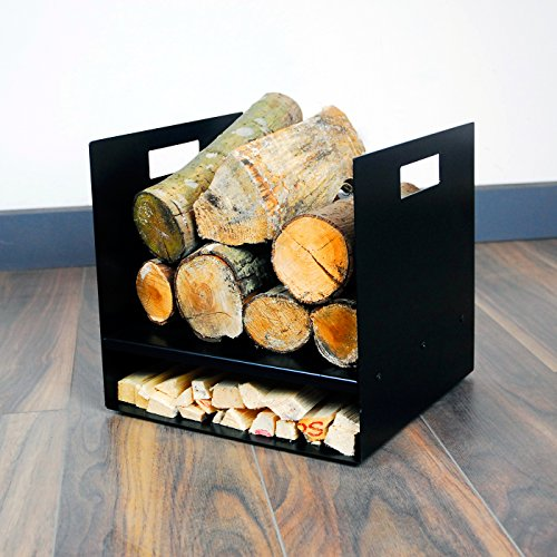 Photo of Compact 32cm Modern Firewood Steel Log Basket/Carrier for Woodstove Fireplace Wood Holder – UK Made – Black