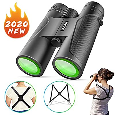 12X42 Powerful Binoculars for Adults and Kids-OVIFM Night Vision Binoculars with Sturdy Binocular Harness Strap,Waterproof Binoculars for Bird Watching,Hunting,Travel,Sightseeing,Sports and Concerts