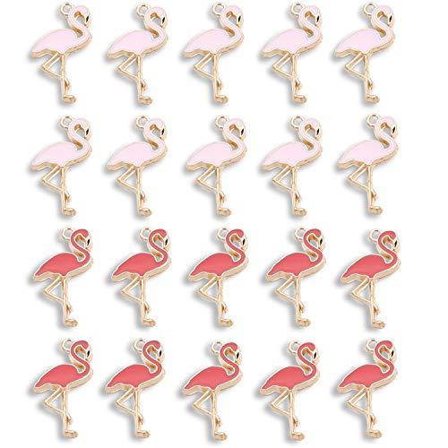 20 abalorios de flamenco para bisutería, pulsera de flamenco, rosa, rojo, aleación de color rosa y rojo