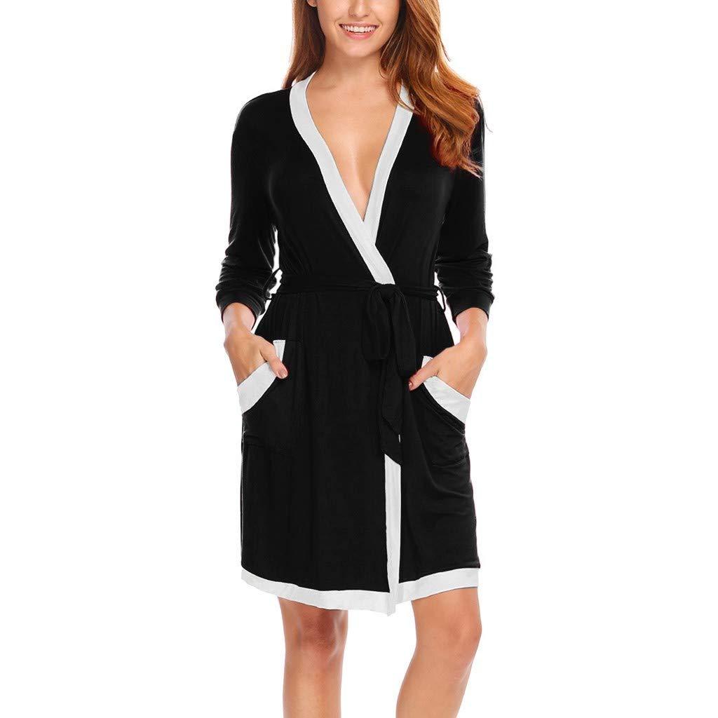 Pyjama Femme Hiver Chaud Robe Kimono De Nuit Pas Cher Lingerie De Nuit Sexy Col V Chic Robe De Chambre VêTements De Nuit