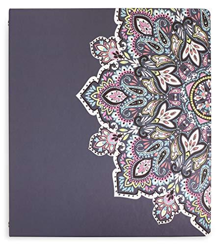 Vera Bradley Hardcover 3 Ring Binder, 1 Inch Round Rings with Interior Pockets, Bonbon Medallion