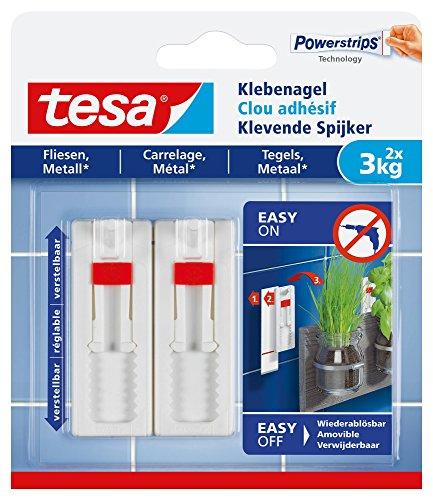 tesa Klebenagel für Fliesen und Metall, verstellbar, 3 kg