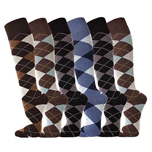 FussFreunde 6 Paar Ökotex Reiter Kniestrümpfe, Reitstrümpfe in modischen Karo Mustern und zusätzlicher Garantie (Braun-Ozean-Anthrazit-Jeans-Anthrazit-Ozean, 39/42-6 Paar)