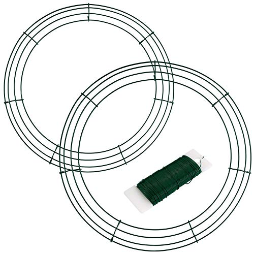 Elcoho 2 Pack Metal Wire Wreath Rings 2 Size Round Shaped Wire Wreath with Green Florists Wire for Home and Party Decor
