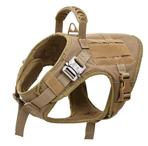 VIVOI Tactical Dog Harness, K9 Working Adjustable Dog Vest With Rubber Layer Hand Control, Tan, Medium