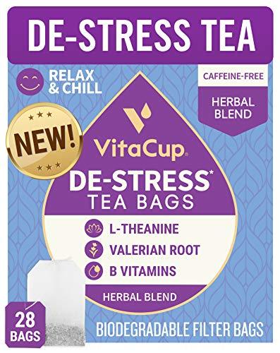 VitaCup DeStress Herbal Tea Bags 28 Ct | Relax & Chill | Chamomile, L-Theanine, Valerian Root & Vitamins B1, B5, B6, B9, B12 | Caffeine Free Sealed Single Serve Wellness Tea Sachet Bag