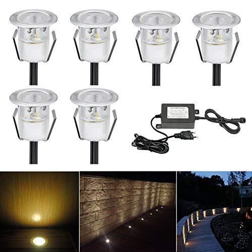 LED Einbaustrahler, 6er Set LED Bodeneinbauleuchte Ø30mm 0.6W Treppen Einbauleuchten Warmes Weiß DC 12V Einbaulampen IP67 Wasserdicht Aussen Lampe für Garden Küche Holzbrücke Poolbeleuchtung Holzdeck