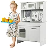 Costzon Kids Kitchen Playset, Wooden Pretend Cooking Food Set with Knife and Fork, Metal Hook, Pot, Seasoning Bottle, Cloth, Easy Assembly Toy for Kids, Toddler Children, Christmas (Upgrade Kitchen)