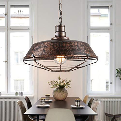 Vintage Kronleuchter, Industriestil, Wohnzimmer-Restaurantbar, Eisentopfdeckel mit Netzleuchter-rust-360mm