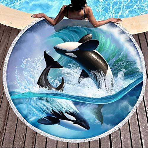 Hothotvery Toallas de playa redondas con borlas fantasías Orca Welle Sillwal impreso Rápido Toalla de baño absorbente para amigos blanco 3 150 cm