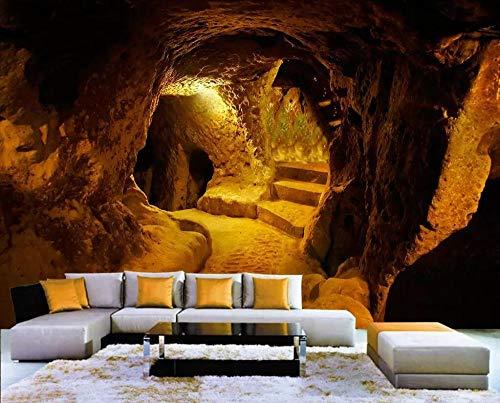LOVEJJ Foto Mural Cueva dorada Mural Gigante - Póster de Naturaleza Tapíz Clásico - Salón Dormitorio Despacho Pasillo Decoración murales decoración de paredes moderna - 350cmx245cm