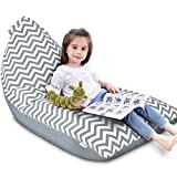 Stuffed Animal Storage Bean Bag Chair | Extra Large Beanbag Cover Only for Kids and Teens, Plush Toys Holder and Organizer for Boys and Girls | Premium Thickened Canvas - Durable (Gray-White Wave)