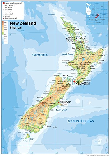 New Zealand Physical Map - Paper Laminated - A0 Size 84.1 x 118.9 cm