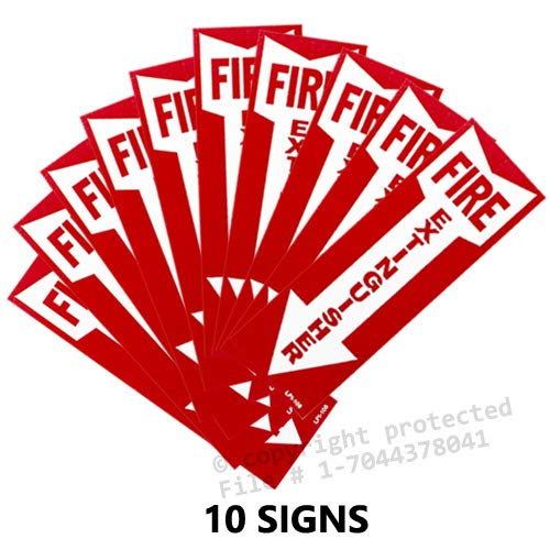 (30 Pack) Fire Extinguisher Signs with Down Arrow, Self Adhesive Vinyl, 4