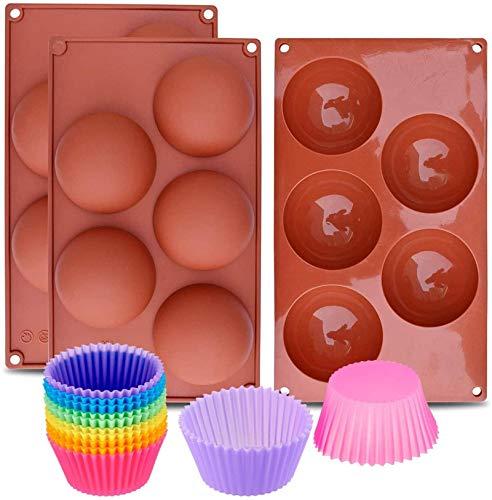 MWKLW Juego de 3 bandejas de Silicona para Muffins para Magdalenas, Molde de Silicona, Antiadherente, sin BPA, Apto para lavavajillas con 12 Tazas de Silicona para Hornear