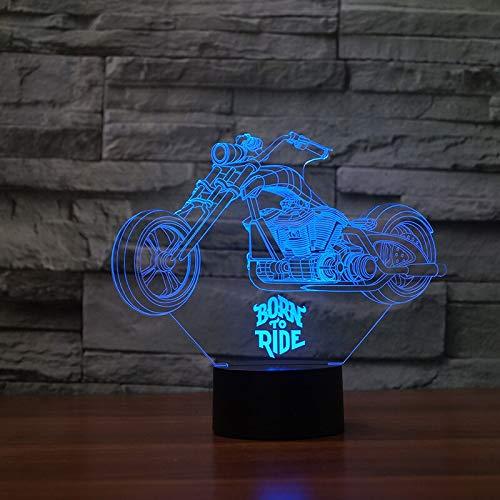 HNXDP Motorrad 3d Visuelle Illusion Lampe Transparent Acryl Nachtlicht Led Fee Lampa Farbwechsel Touch Tisch Bulbing Lambas