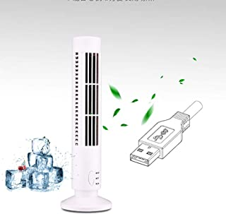 Mini Ventilador de Mesa USB Tipo Torre, Ventilador de Prueba sin Cuchilla para el hogar, Dormitorio, Cocina, Piso, Ventilador de enfriamiento de oscilación de 2 velocidades, Blanco