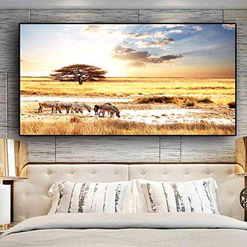 NIMCG African Sunset Zebra Animal Landscape Poster and Printmaking Canvas Painting Kudros Mural Living Room Art (sin Marco) A1 60x120CM
