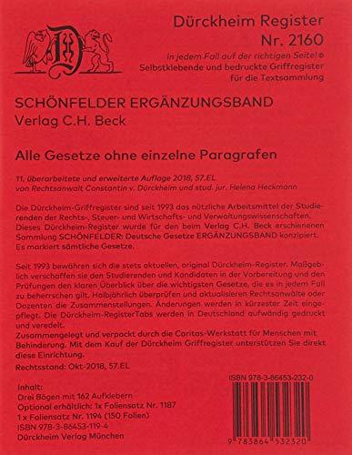 DürckheimRegister SCHÖNFELDER-100er-Einteilung 2020: 128 Registeretiketten (sog. Griffregister) für den SCHÖNFELDER, C.H. Beck Verlag • ... an FOLIEN, Trennblättern oder Buchseiten