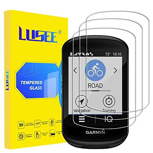 Lusee 3 Piezas Protector de Pantalla para Garmin Edge 830 / Edge 530 Cristal Vidrio Templado [Dureza 9H] [Alta Definición] Resistente a los arañazos/Anti-Huellas Protector de Pantalla
