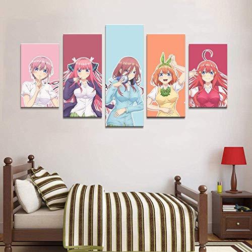 GNZY Impresiones sobre Lienzo 5 Piezas Anime Las Quintillizas por Excelencia Cuadros Modulares De La Pintura De La Decoración Arte Moderno del Cartel Casero,A,20x30x2+20x50x1+20x40x2