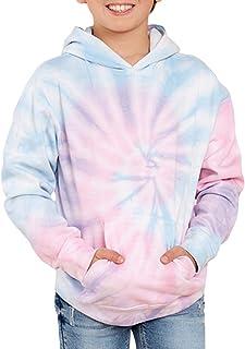 GAMISOTE Unisex Kids Tie Dye Sweatshirt Boys Girls Hooded Kangaroo Pocket Pullover Hoodies