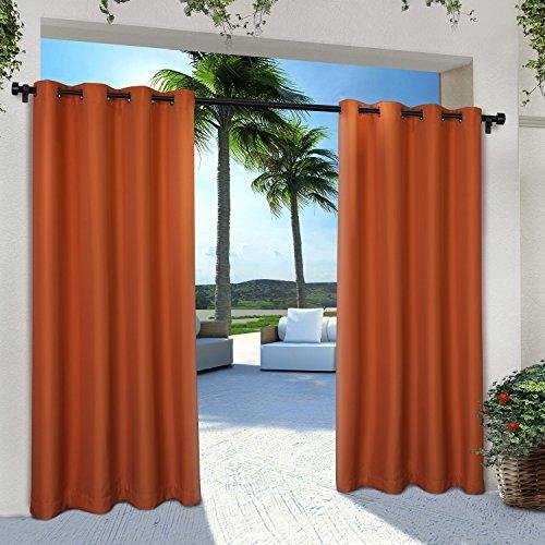 Exclusive Home Curtains Indoor/Outdoor Solid Cabana Grommet Top Curtain Panel Pair, 54x84, Mecca Orange, 2 Count